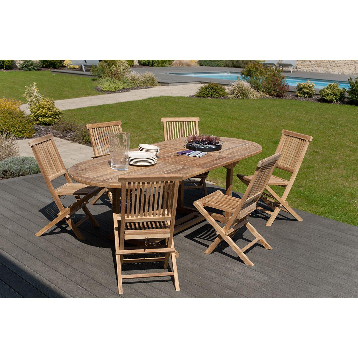 Ensemble table de jardin et 6 chaises en teck santaluz Miliboo | La