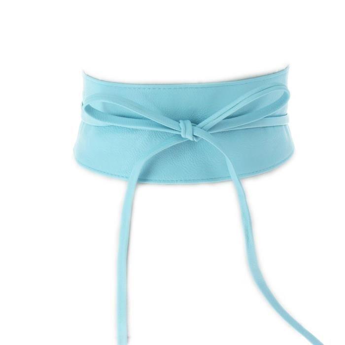 Ceinture large à noeud bandeau et lacet femme simili cuir Bleu clair