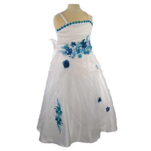 robe de ceremonie fille ivoire turqoise