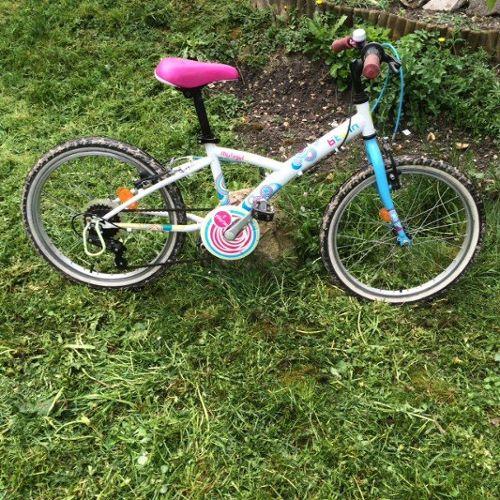 Vélo B'Twin fille 21 pouce Décathlon Blanc / Rose Décathlon