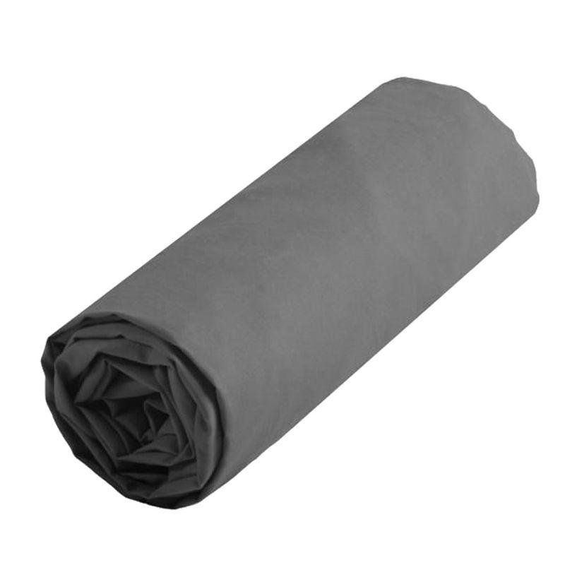 Drap housse gris uni 90 x 190 cm Storex