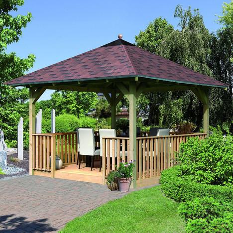Kiosque de jardin / 12,74 m² Abri en bois carré à prix : pas
